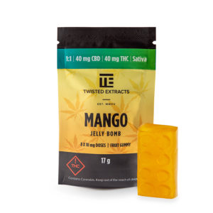 1:1 Mango Jelly Bomb - 40mg THC : 40mg CBD (Twisted Extracts)